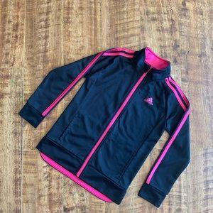 Adidas Girls Activewear Jacket Zip Up Pink Black 6